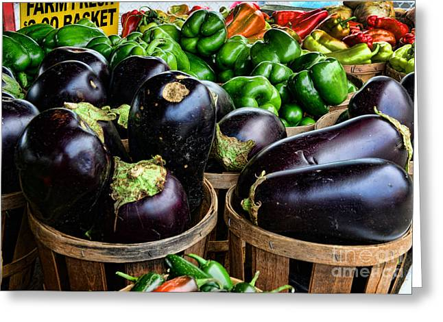 Food - Farm Fresh - Eggplant And Peppers Greeting Card by Paul Ward