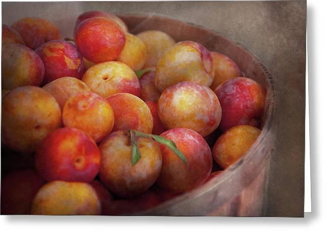 Food - Peaches - Farm Fresh Peaches  Greeting Card by Mike Savad