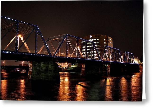 Foot Bridge Lights Over The Grand Greeting Card by Richard Gregurich