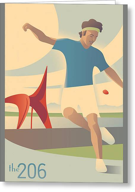 Footbag In Seattle Greeting Card by Mitch Frey