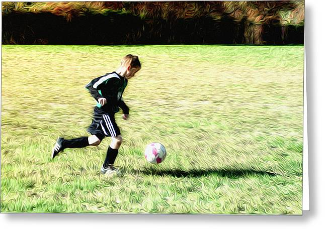 Footballer Greeting Card by Bill Cannon