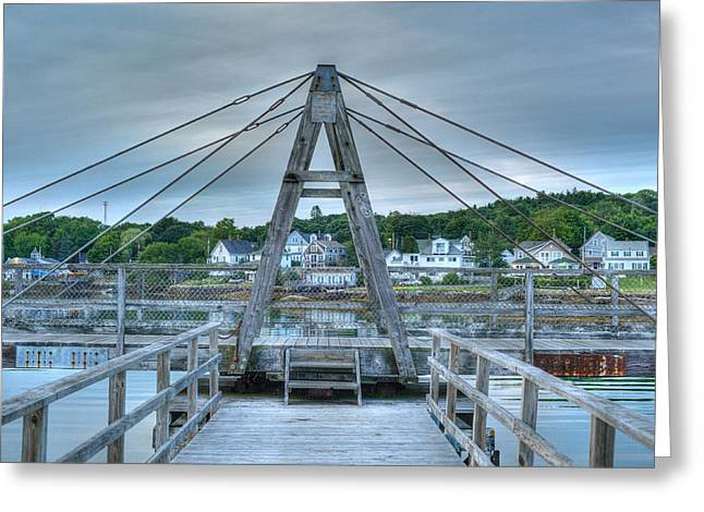 Footbridge Tower Greeting Card by Ron St Jean