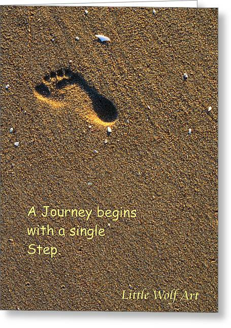 Footprint On Beach Quote Greeting Card