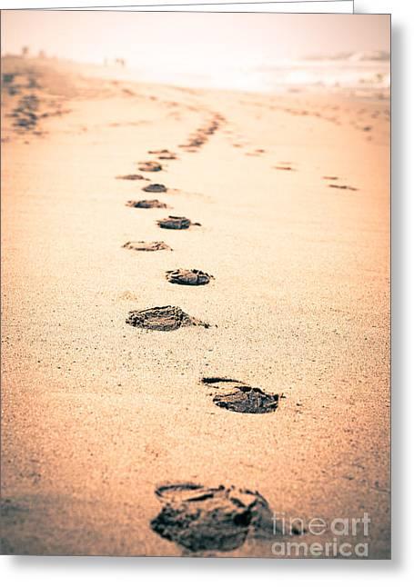 Footprints In Sand Greeting Card by Paul Velgos