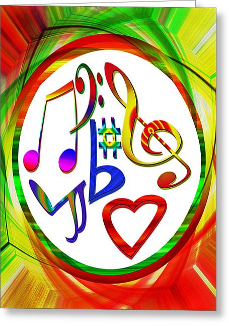 For The Love Of Music Greeting Card by Susan Leggett