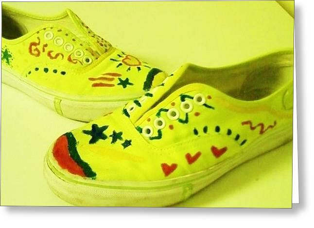 For The Love Of Shoes Greeting Card by Krystyn Lyon