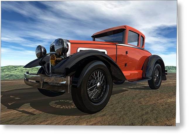 Greeting Card featuring the digital art Ford Model A by John Pangia