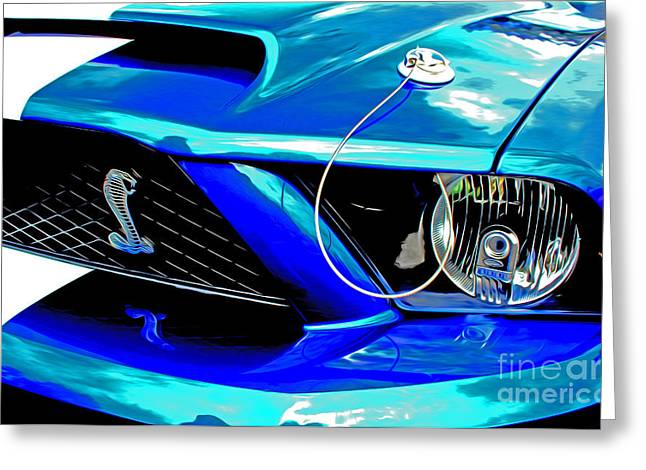 Greeting Card featuring the digital art Ford Mustang Cobra by Tony Cooper