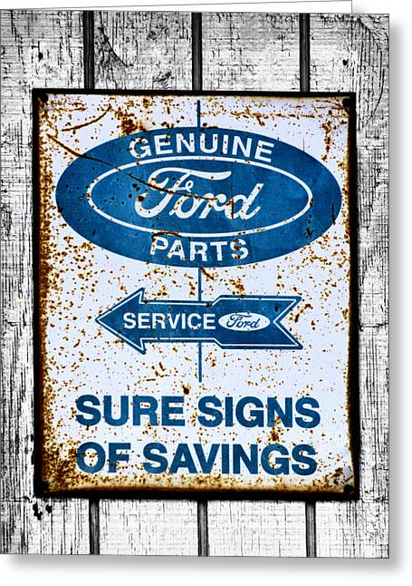 Ford Sign Greeting Card by Karen Scovill