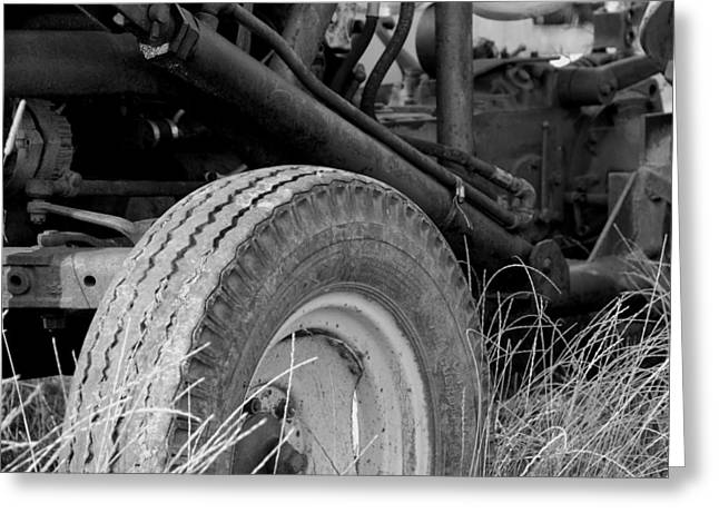 Ford Tractor Details In Black And White Greeting Card by Jennifer Ancker