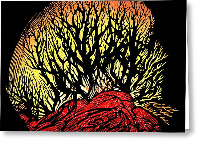 Forest Fire, Lino Print Greeting Card