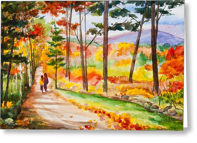 Forever Autumn Watercolor Painting Greeting Card by Michelle Wiarda