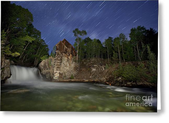 Stars Trail Greeting Cards - Forgotten Mill Greeting Card by Keith Kapple