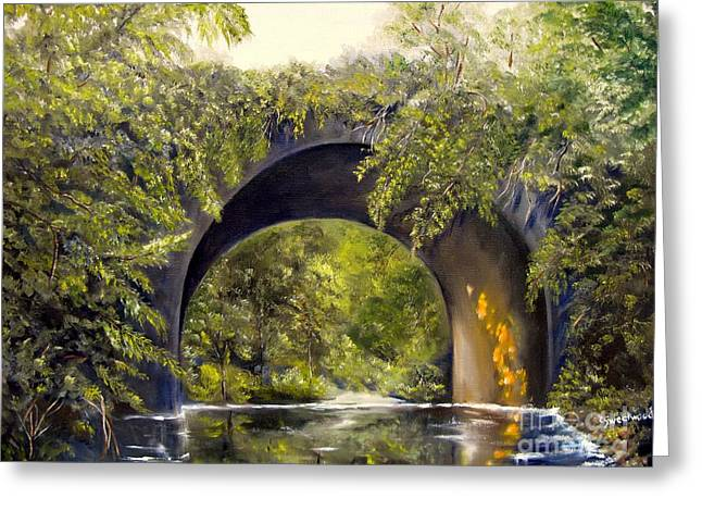 Greeting Card featuring the painting Forgotten Train Bridge by Carol Sweetwood