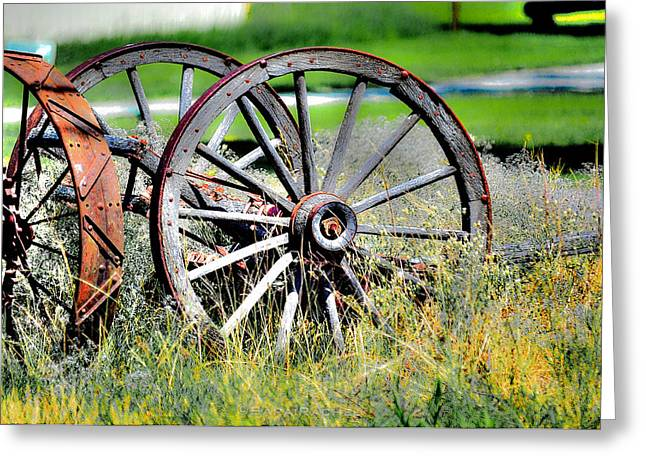 Forgotten Wagon Wheel Greeting Card by Sarai Rachel