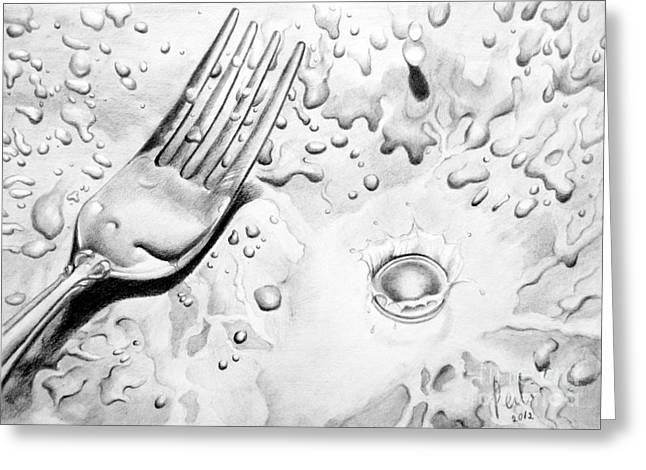 Fork And Drops Greeting Card by Eleonora Perlic