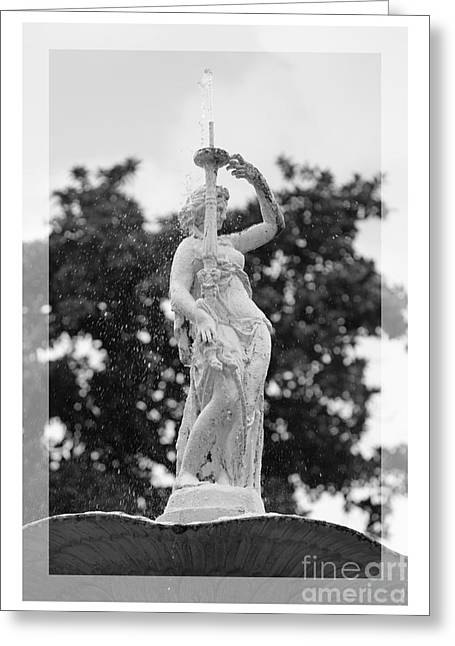 Forsyth Fountain - Black And White 2 Greeting Card by Carol Groenen