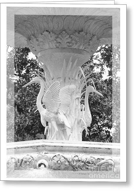 Forsyth Fountain - Black And White 4 Greeting Card by Carol Groenen