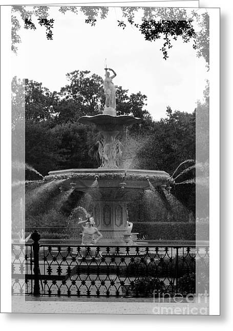 Forsyth Park Fountain - Black And White Greeting Card by Carol Groenen