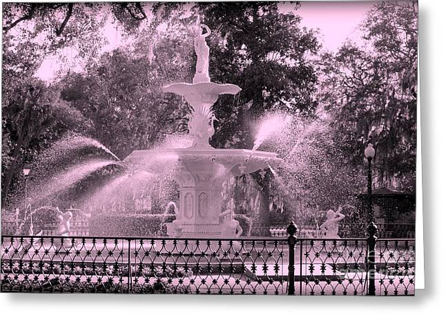 Forsyth Park Fountain In Pink Greeting Card by Carol Groenen