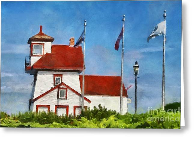 Fort Point Lighthouse In Liverpool Nova Scotia Canada Greeting Card