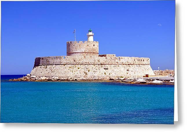 Fort Saint Nicholas In Rhodes. Greece. Greeting Card by Fernando Barozza