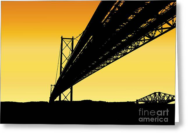 Forth Bridges Silhouette Greeting Card