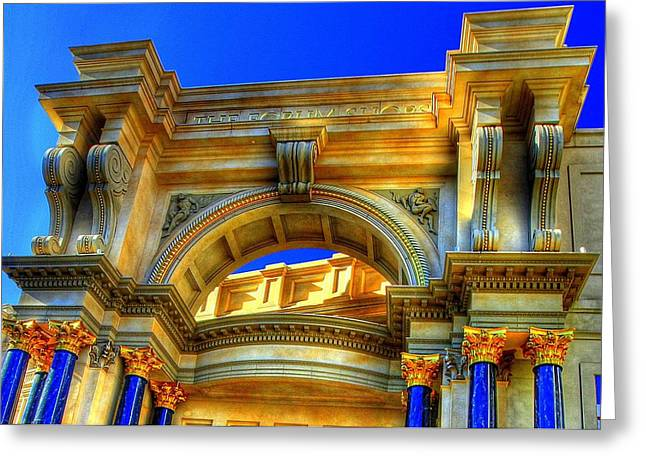 Greeting Card featuring the photograph Forum Shops Arch by Linda Edgecomb