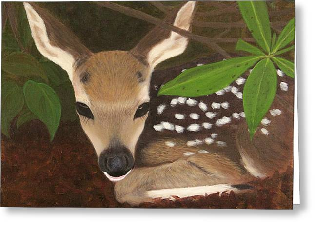 Greeting Card featuring the painting Found A Fawn by Janet Greer Sammons