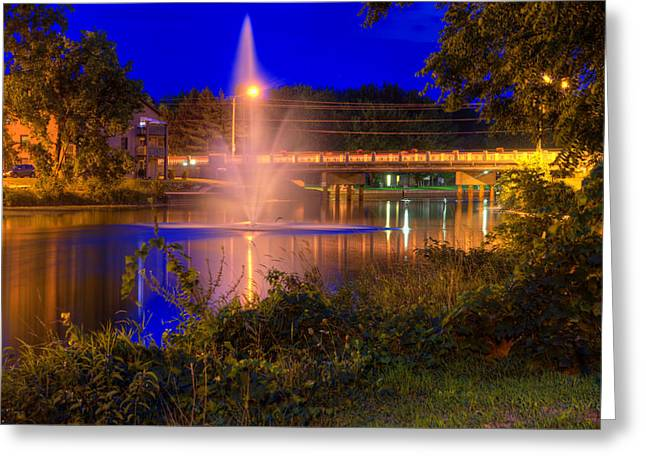 Fountain And Bridge At Night Greeting Card