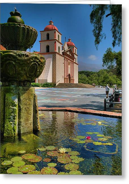 Fountain And Mission Greeting Card by Steven Ainsworth