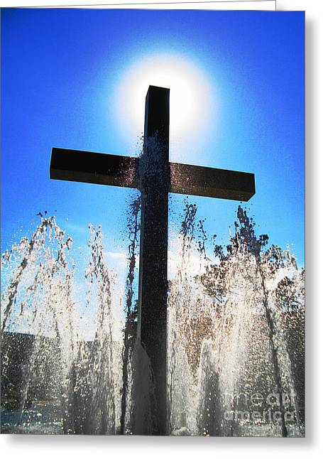 Fountain Of Hope Greeting Card by Denise Hopkins