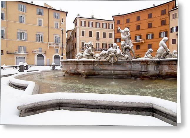 Fountain Of Neptune Greeting Card by Fabrizio Troiani