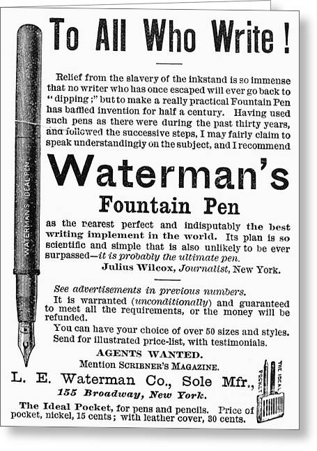 Waterman greeting cards page 4 of 17 fine art america fountain pen advertisement greeting card m4hsunfo