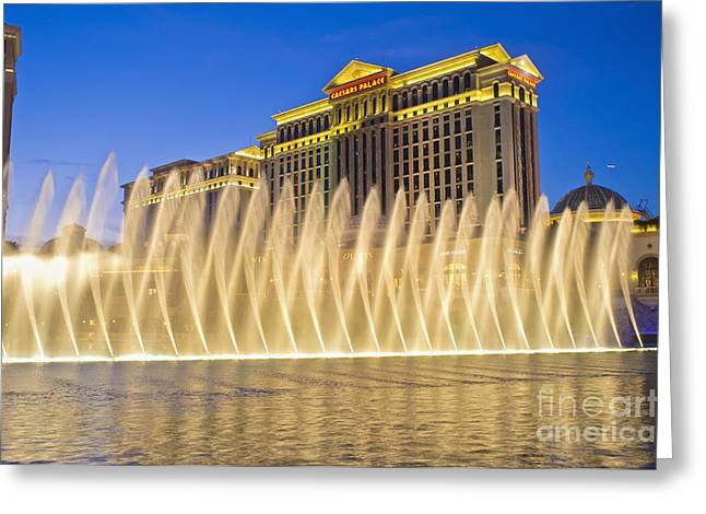 Fountains Of Bellagio In Front Of Caesar's Palace Hotel And Casi Greeting Card by Andre Babiak