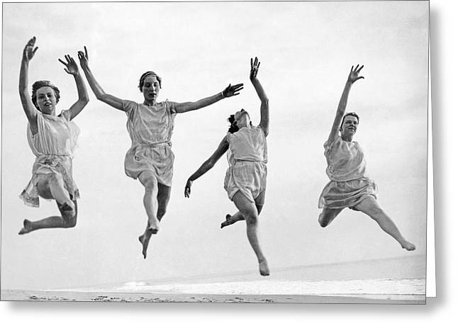 Four Dancers Leaping Greeting Card by Underwood Archives