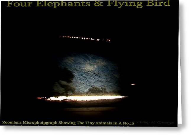 Flying Bird Reliefs Greeting Cards - Four Elephants And Flying Bird  Greeting Card by Phillip H George