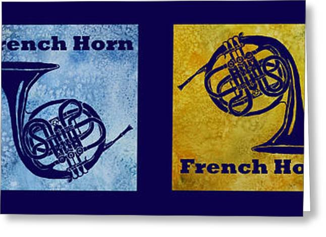 Four French Horns Greeting Card by Jenny Armitage