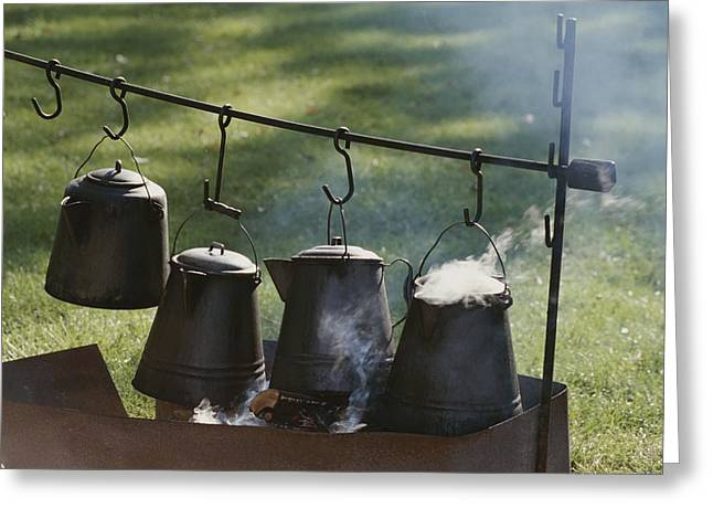 Four Metal Coffee Pots Steaming Over An Greeting Card by Michael S. Lewis