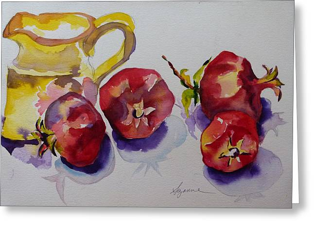 Four Pomegranates Greeting Card by Suzanne Willis