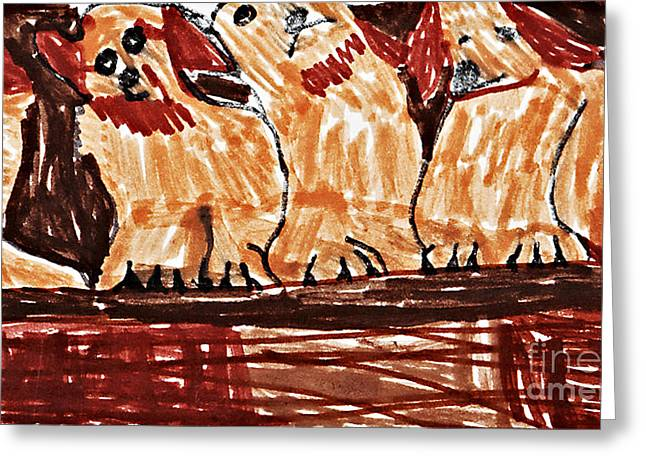 Four Puppies In A Row Greeting Card by Stephanie Ward