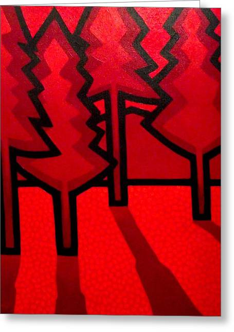 Four Red Pines Greeting Card by John  Nolan