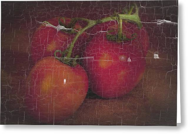 Four Tomatoes Crackle Greeting Card