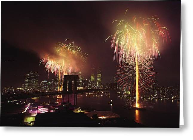 Fourth Of July Fireworks Over New York Greeting Card