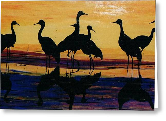 Fowl At Dusk Greeting Card by Otis L Stanley
