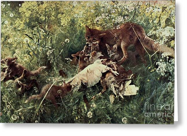Fox Family Greeting Card by Pg Reproductions