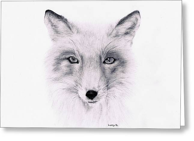 Greeting Card featuring the drawing Fox by Lucy D