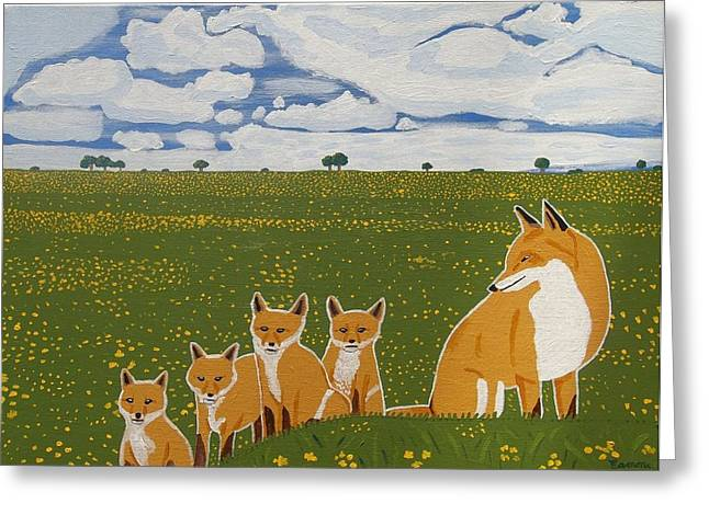 Foxes In The Countryside Greeting Card by Eamon Reilly