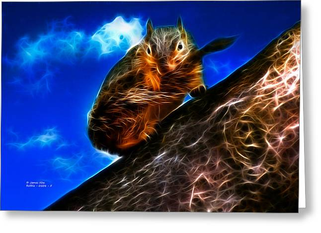 Fractal - How Do You Like My Mustache - Robbie The Squirrel Greeting Card by James Ahn