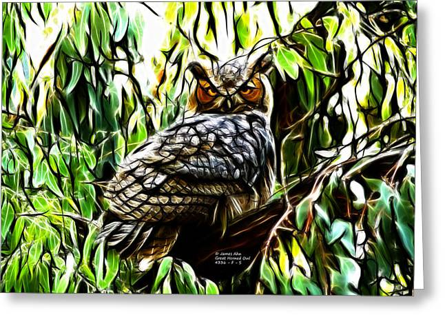 Fractal-s -great Horned Owl - 4336 Greeting Card